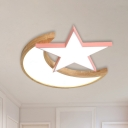 Color-Block Moon and Star Flush Light Nordic Acrylic Kids Bedroom LED Ceiling Mounted Lamp in Grey/Pink/Green and Wood