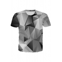 Fancy Geo 3D Patterned Short Sleeve Crew Neck Slim Fitted T-shirt for Men