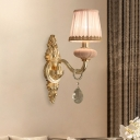 Pleated Fabric Pink Wall Lighting Tapered 1/2-Bulb Rustic Sconce Light with Braided Trim