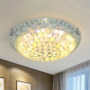 2/3 Lights Domed Flush Mount Lighting Baroque Blue Hand Cut Glass Mosaic Patterned Ceiling Fixture for Bedroom, 12
