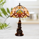 Stained Glass Beige/Blue Nights Table Light Bowl Shade 1-Head Victorian Desk Lamp with Resin Angel Base