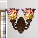 Flared Wall Mount Light 2 Bulbs Blue/Pink Glass Tiffany Sconce Lamp with Flower/Leaf Pattern