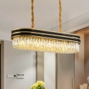 Oblong Dining Table Suspension Lamp Modern Crystal 10-Light Black and Gold Hanging Island Light