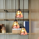 Cut Glass Pink Cluster Pendant Morning Glory/Bowl Shaped 3 Bulbs Tiffany-Style Hanging Ceiling Light