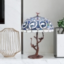 Hand Cut Glass Coffee Night Lamp Bowl Shade 1-Bulb Baroque Table Light with Tree Design