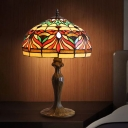 1 Bulb Fish Patterned Nightstand Lamp Baroque Bronze Cut Glass Table Lighting for Bedroom