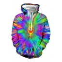 Green Unique Colorful Dizzy 3D Patterned Long Sleeve Drawstring Kangaroo Pocket Relaxed Hoodie for Men
