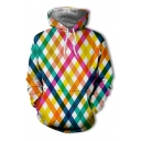 Popular Yellow Rhombus Patterned Long Sleeve Drawstring Pouch Pocket Relaxed Fit Hoodie for Men