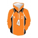 Fashionable Mens Number 4 Footprint Graphic Contrasted Long Sleeve Drawstring Loose Orange Hoodie with Pocket
