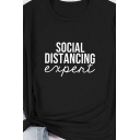 Street Womens Letter Social Distancing Printed Rolled Short Sleeve Relaxed Fit T Shirt