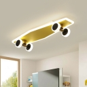 Gold Skateboard Ceiling Light Fixture Kids Iron Integrated LED Flush Mount for Boy Room