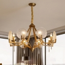 Gold Open Diamond Hanging Light Postmodern Metal 8 Heads Parlor Chandelier with Circles Textured Glass Shield
