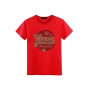 Simple Guys Letter S Print Short Sleeve Round Neck Slim Fit T Shirt
