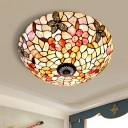 3/4 Bulbs Butterfly-Flower Flush Light Mediterranean Beige Shell Ceiling Flush Mount, 16