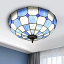 3-Light Flushmount Ceiling Lamp Baroque Gridded Dome Clear/Textured White/Royal Blue-White Glass Flush Mount Fixture
