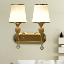 Flared Frosted White Glass Sconce Contemporary 2-Bulb Foyer Wall Mounted Light in Gold