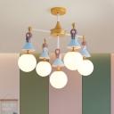 Blue Princess Ceiling Mount Chandelier Kids 5-Bulb Resin Semi-Flush Light with Ball White Glass Shade