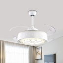 4 Blades White Drum Ceiling Fan Lamp Modernist LED Crystal Semi Flush Mount Light Fixture, 47