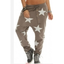 Fashionable All-over Star Printed Elastic Waist Full Length Bloomers Pants for Women