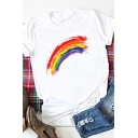 Basic Womens Rainbow Printed Rolled Short Sleeve Crew Neck Regular Fit T Shirt in White