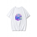 Street Womens Box Printed Short Sleeve Crew Neck Loose Fit T Shirt in White