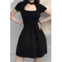 Fashionable Womens Buckle Embellished Keyhole Neckline Short Sleeve Mini Skater Dress in Black