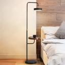 Flat Round Swivelable LED Floor Lamp Nordic Iron Black/White Reading Floor Light with Table for Living Room