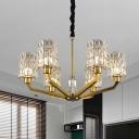 Grid Cylinder Crystal Chandelier Postmodern 6 Lights Bedroom Hanging Light Fixture in Gold