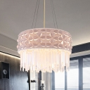 4-Light Drum Pendant Chandelier Modernist White Crystal Icicles Hanging Lamp for Dining Room