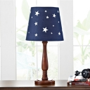 Star Patterned Barrel Fabric Table Light Modern 1-Light Dark Blue Nightstand Lamp with Wood Baluster Arm