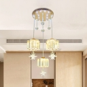 Modern Style Floral Multi Hanging Light 3 Bulbs Beveled Crystal Pendant Ceiling Light in Gold