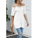 Trendy Womens Solid Color Lace Trim Short Sleeve Stringy Selvedge Bow Tie Off the Shoulder Relaxed Fit T Shirt