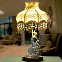 Dancing Girl Parlor Table Light Pastoral Ceramic Single Beige Nightstand Lamp with Flower Fabric Shade