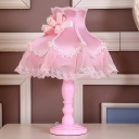 Pink Princess Dress Nightstand Light Pastoral Fabric Single Living Room Table Lamp