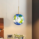 Earth Globe Bedside Drop Pendant Blue Glass 1 Bulb 6
