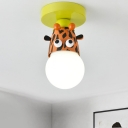 1 Bulb Foyer Mini Semi Flush Light Kids Yellow Ceiling Light with Cow/Giraffe/Tiger Metal Shade