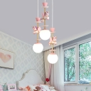 Resin Cluster Unicorn Pendant Kid 3/5 Heads Pink/Blue Hanging Light Fixture with Ball Ivory Glass Shade for Child Bedroom