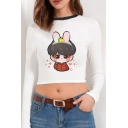 White Sexy Cartoon Pattern Long Sleeve Contrasted Crew Neck Slim Fit Cropped Tee Top for Ladies
