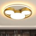 Acrylic Mouse Head Flushmount Lighting Kids LED Gold Ceiling Flush Mount in Warm/White Light