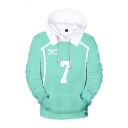 Designer Boys Cosplay Costume 3D Number 7 Letter Pattern Long Sleeve Drawstring Pouch Pocket Relaxed Hoodie in Green