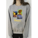 Casual Womens Sherpa Liner Oil Painting Printed Long Sleeve Crew Neck Relaxed Fit Pullover Sweatshirt in Gray