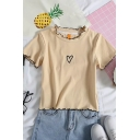 Girls Chic Heart Embroidery Stringy Selvedge Contrast Piped Short Sleeve Crew Neck Slim Fit Crop T-shirt