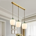 White Glass Dome/Bell Multi-Light Pendant Rural Style 3 Bulb Living Room Down Lighting with Linear Canopy