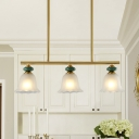 Scalloped Bell Frosted Glass Island Chandelier Classic Style 3-Head Dining Room Hanging Lamp Kit in Gold with Linear Beam