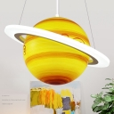 White Orbit Chandelier Light Fixture Creative LED Acrylic Hanging Pendant Lamp with Yellow-Brown Jupiter/Blue Earth/Orange Sun