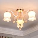 Floral Dining Room Semi Flush Chandelier Vintage Milk Matte Glass 4/7-Head Gold Ceiling Mount Lamp