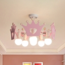 Crown Semi Flush Mount Chandelier Kid Wood 6 Bulbs Pink Close to Ceiling Light for Girl's Room