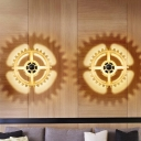 Gear Shape Wood Wall Mount Lighting Nordic 1 Head Beige Wall Sconce Lamp for Living Room