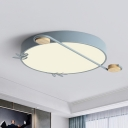 Minimalist Ring Ceiling Mounted Light LED Flush Mount Lighting with Wood Decor in Black/Grey/White