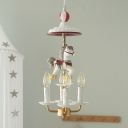 Kids Candle Chandelier Lamp Metal 4 Lights Bedroom Hanging Light in White with Carousel Design